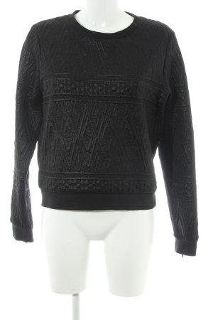 Mavi Rundhalspullover schwarzbraun abstraktes Muster Casual-Look