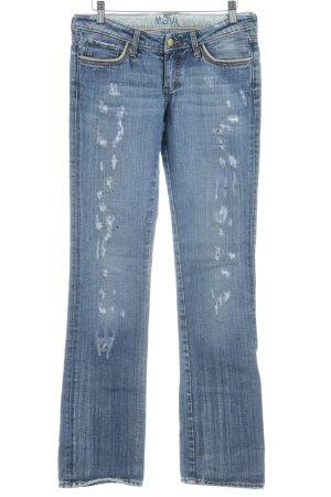 Mavi Skinny Jeans stahlblau Used-Optik