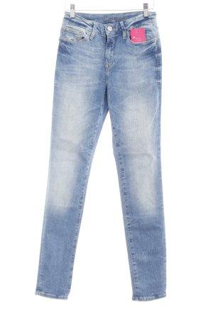 Mavi Skinny Jeans stahlblau-wollweiß Washed-Optik