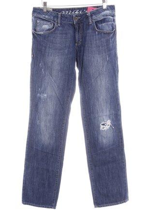 Mavi Straight-Leg Jeans blau Used-Optik