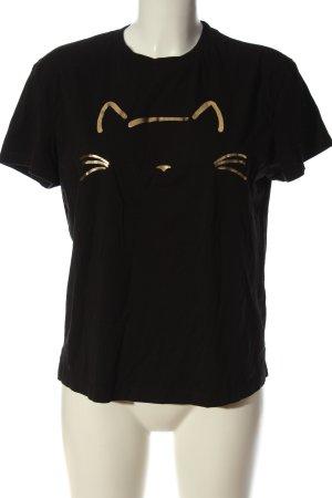 Mavi T-Shirt schwarz-goldfarben Motivdruck Casual-Look