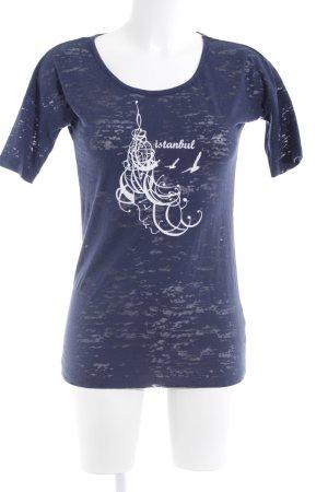 Mavi T-Shirt dunkelblau-weiß Motivdruck Casual-Look