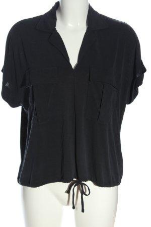 mavi UPTOWN Koszulka z dekoltem w kształcie litery V czarny W stylu casual