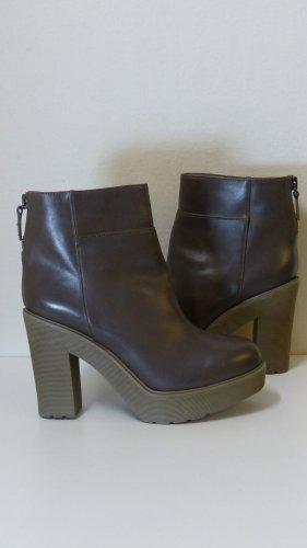 Bottines à plateforme gris brun-bronze cuir