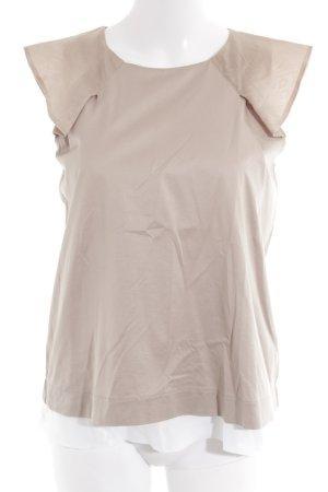 Max & Co. Kurzarm-Bluse beige-weiß Metallelemente
