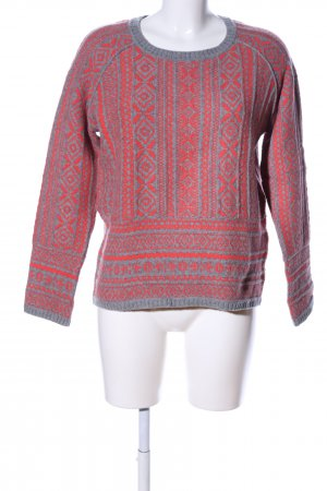 Max & Co. Strickpullover rot-hellgrau abstraktes Muster Casual-Look