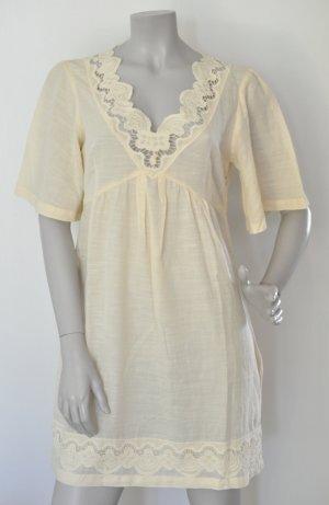 Max & Co. Tunika Kleid mit Spitze pastellgelb Baumwolle Gr. 38 UNGETRAGEN