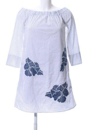 MAX schulterfreies Kleid blau-weiß Blumenmuster Casual-Look