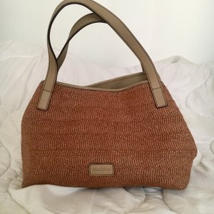 MAX MARA brown Woven Raffia Leather Shoulder Bag Tote