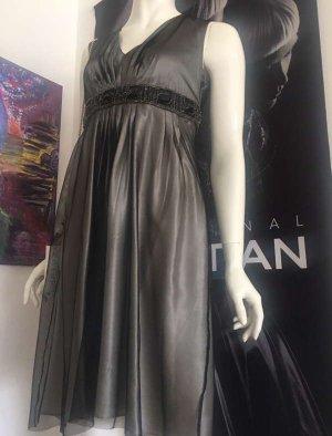 Max Mara Couture Kleid Seide Chiffon Small Taupe grau sehr edel Luxus