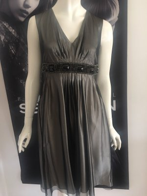 Max Mara Couture Kleid Seide Chiffon Small Taupe grau sehr edel Luxus Runway