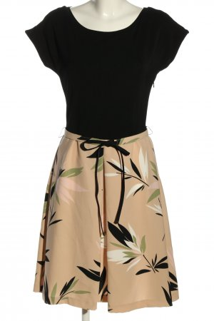 Max Mara Cut Out Dress black-natural white flower pattern casual look