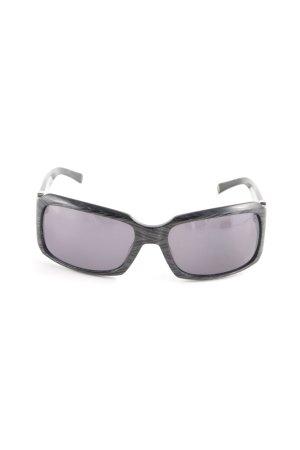 Max Mara eckige Sonnenbrille schwarz-silberfarben Retro-Look