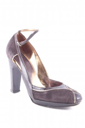 Max Mara High Heels dunkelbraun-goldfarben Elegant
