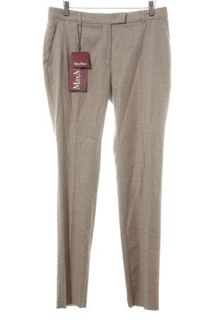 Max Mara Pantalón de pinza alto blanco puro-marrón Patrón de tejido