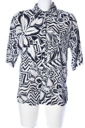 Max Mara Seidenbluse weiß-schwarz abstraktes Muster Casual-Look