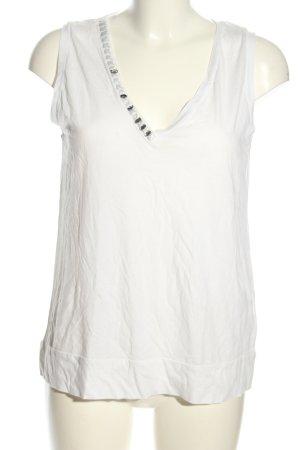 Max Mara V-Ausschnitt-Shirt weiß Casual-Look