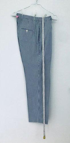 MaxMara Weekend Pantalon fuselé blanc-gris ardoise coton