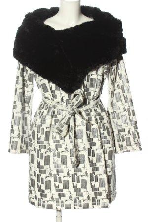 Max Mara Cappotto invernale bianco-nero stampa integrale stile casual