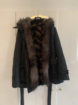 Giacca di pelliccia nero-marrone-nero
