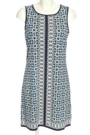Max Studio Jerseykleid weiß-blau Allover-Druck Casual-Look