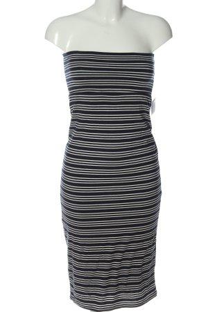 Max Studio schulterfreies Kleid blau-weiß Allover-Druck Casual-Look