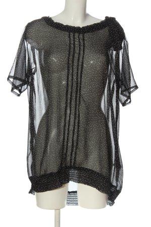maxi blue. Transparenz-Bluse schwarz-weiß Punktemuster Elegant