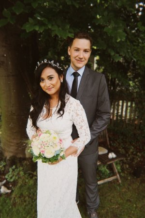 Maxi Brautkleid aus floraler Spitze