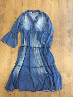 Maxi Jeans Style Kleid blau mit Volant Onesize blau Miss Mya Made in Italy