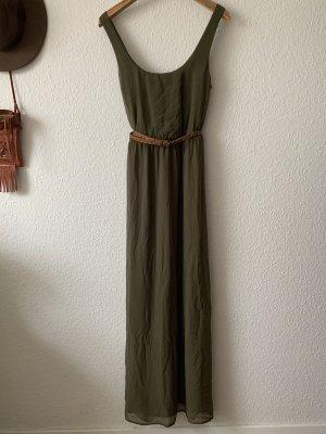 Zara Sukienka boho khaki-ciemnozielony