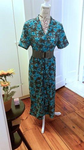 Maxi-Kleid Damen mit Reverskragen Gr. M gemustert, türkis & schwarz