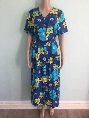 Maxi Kleid Floral Blau Grün Viskose Bunt Vintage