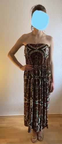 Maxi Kleid lang 34, 36,38 braun Muster