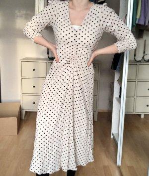 Maxi Kleid mit Punkten beige-schwarz
