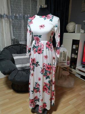 Vestido largo blanco-rojo frambuesa
