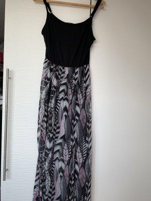 Maxi Kleid schwarz rosa