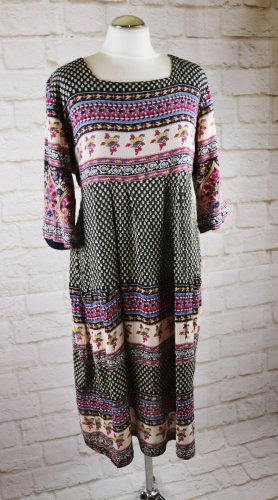 Maxi Langarm Kleid Musselin Größe M 38 Paisley Streifen Muster Blau Beige Rot Bunt Weiches Maxikleid Hippie