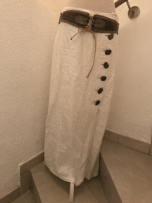 Lniana spódnica biały-brąz Len