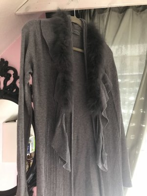 Maxi Long xxl Strickjacke grau Pelz Fell gr. 36 - 40 Preziosa Mantel