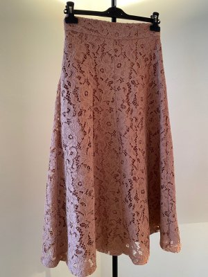 Zara Falda de encaje color rosa dorado-rosa empolvado tejido mezclado