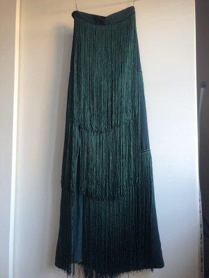 Spódnica z frędzlami ciemnozielony-leśna zieleń
