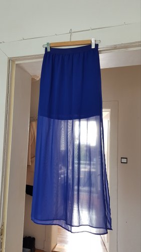 Maxi Rock Royal Blau mit Beinschlitzen Transparent