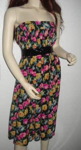 MAXI Rock Seidenrock Bandeau Seidenkleid Kleid schwarz h m Blumen 100% Seide 36 38 S M L
