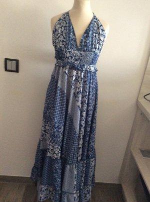 Maxi Sommerkleid Gr 34/36 blau weiß