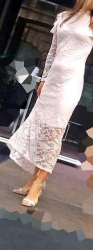 Maxi Spitzen Kleid Rose Langarm Gr XS/S  Neu Cocktail Abend Ball Hochzeit