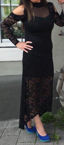 Maxi Spitzen Kleid schwarz Langarm Gr XS/S Neu Cocktail Abend Ball Hochzeit