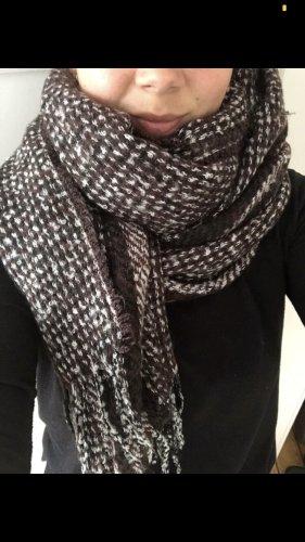 Zara Sciarpa di lana marrone-nero-bianco