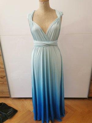 maxi Wickelkleid mit blauem Farbverlauf