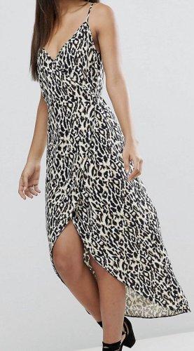 Maxi Wickelkleid mit Camisole Trägern und Leopardprint