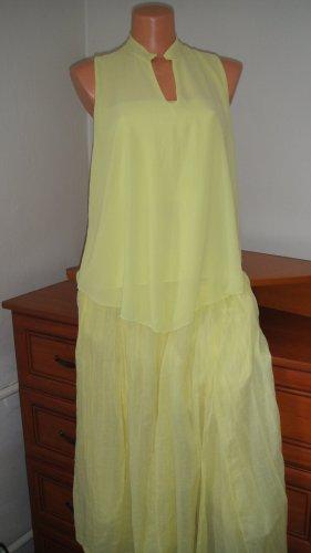 aus Italien Maxi-jurk lichtgeel Katoen